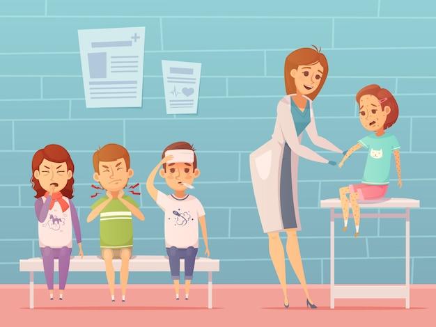 Kindziekten bij de samenstelling van het artsenkantoor met zieke beeldverhaalkarakters Gratis Vector