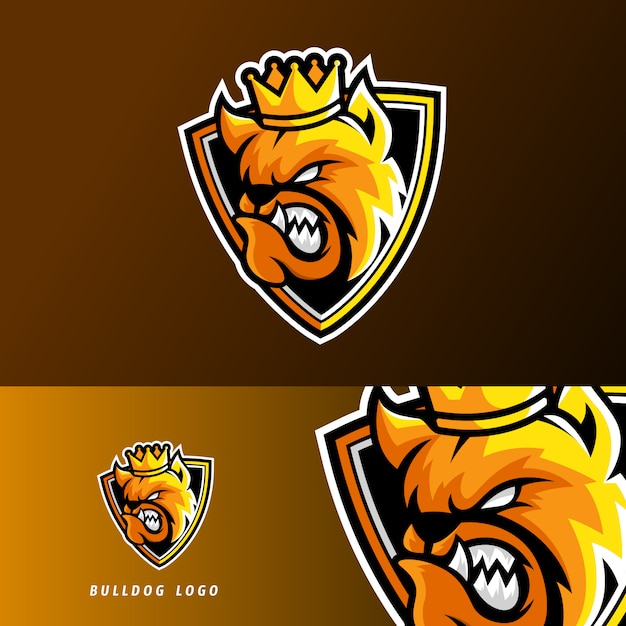 King bulldog hond dier esport gaming mascotte logo sjabloon Premium Vector