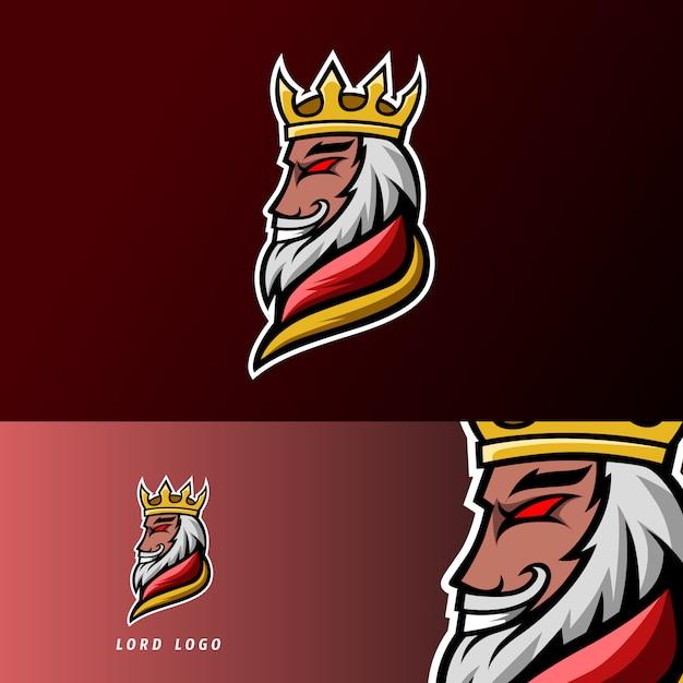 King lord gaming sport esport logo sjabloon met armor, kroon, baard en dikke snor Premium Vector