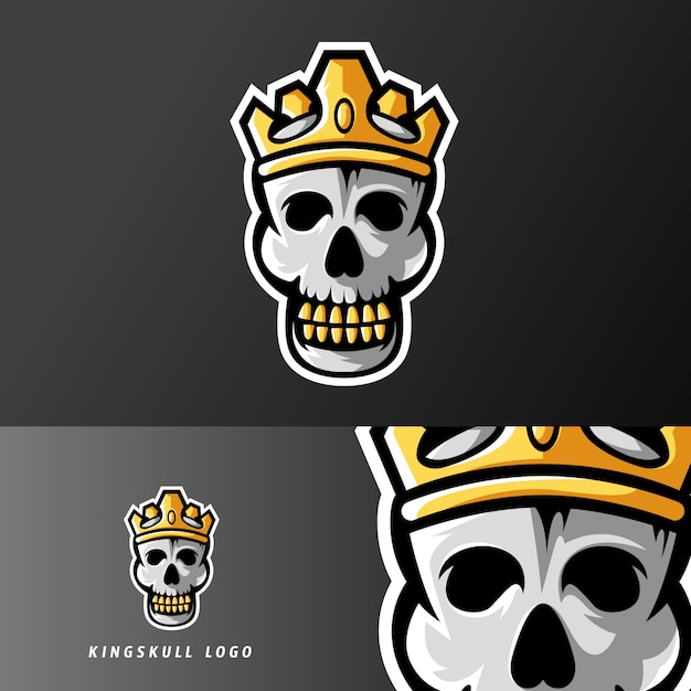 King of skull sport of esport gaming mascotte-logo Premium Vector