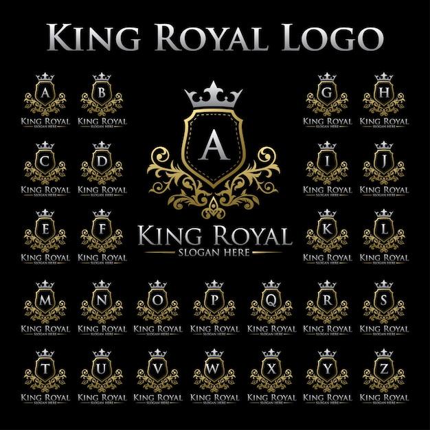 King royal-logo met alfabetenset Premium Vector