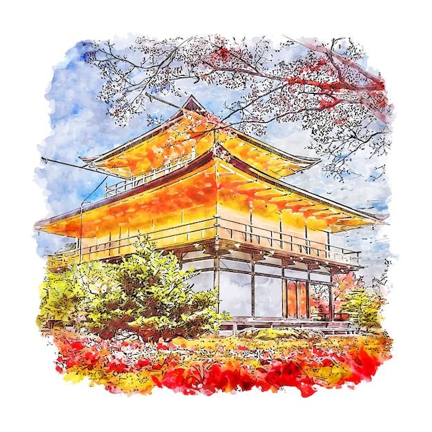 Kinkakuji tempel japan aquarel schets Premium Vector