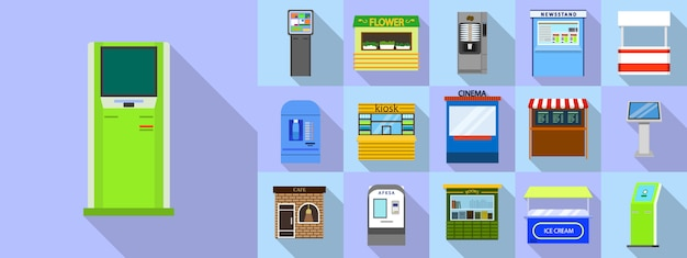 Kiosk pictogrammen instellen, vlakke stijl Premium Vector