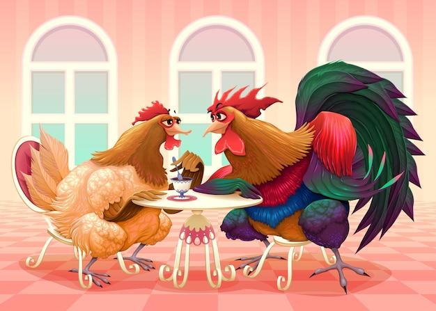 Kip en haan in een cafe grappige cartoon vectorillustratie Gratis Vector