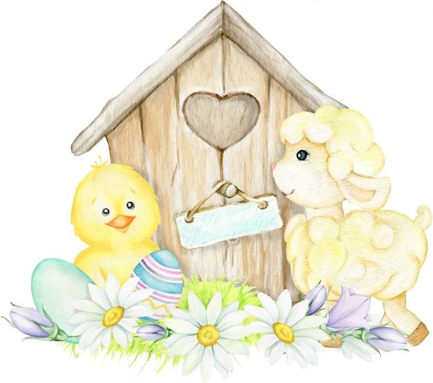 Kip, schapen, huis, bloemen, paaseieren. pasen aquarel illustratie Premium Vector
