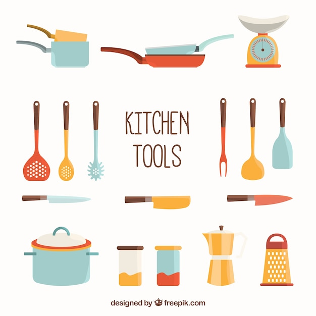 Kitchen tools collection vector gratis download for Herramientas cocina