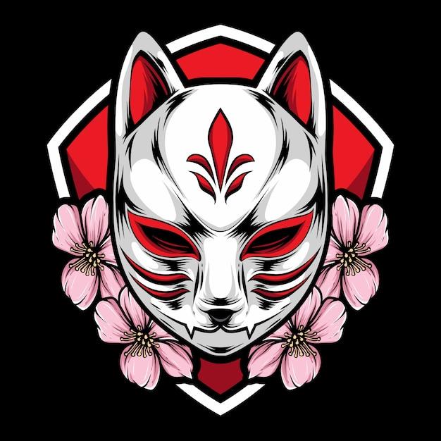 Kitsune-masker met sakura Premium Vector
