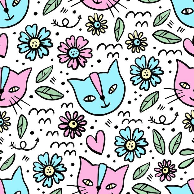 Kitten bloem hand getrokken schets naadloze patroon Premium Vector