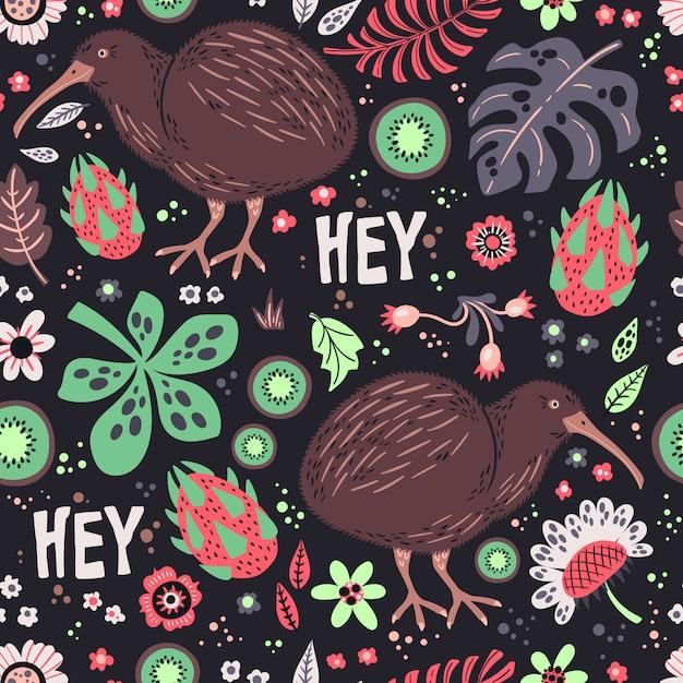 Kiwivogel met planten en bloemenpatroon Premium Vector