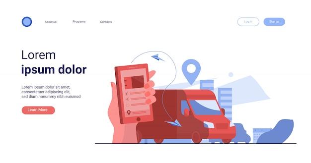 Klant die mobiele app gebruikt om de levering van bestellingen te volgen Gratis Vector