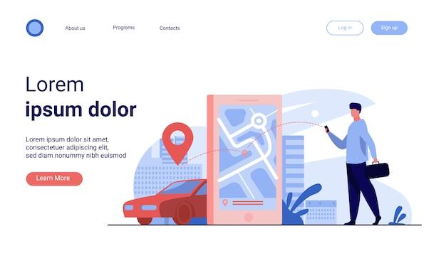 Klant die online app gebruikt voor taxibestelling of autoverhuur Gratis Vector