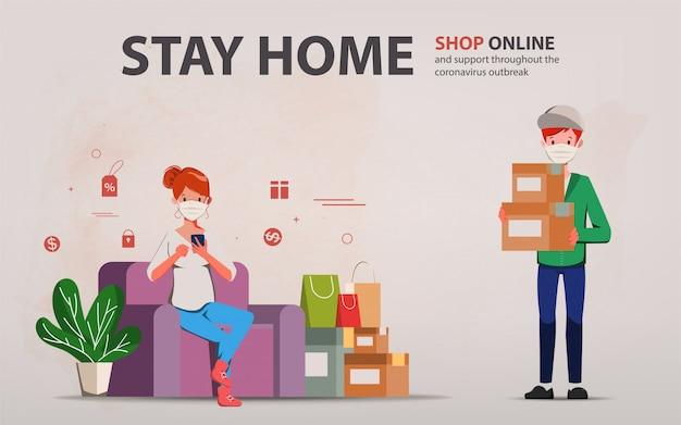 Klant die online winkelt tijdens covid-19. blijf thuis en vermijd verspreiding van het coronavirus. Premium Vector