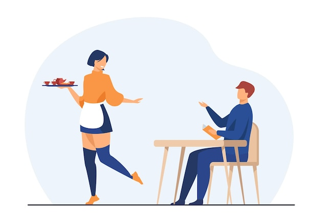 Klant en serveerster in coffeeshop. man die orde maakt in café. cartoon afbeelding Gratis Vector