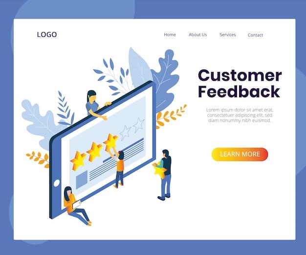Klant feedback concept illustratie. isometrische ontwerp klantbeoordeling. Premium Vector