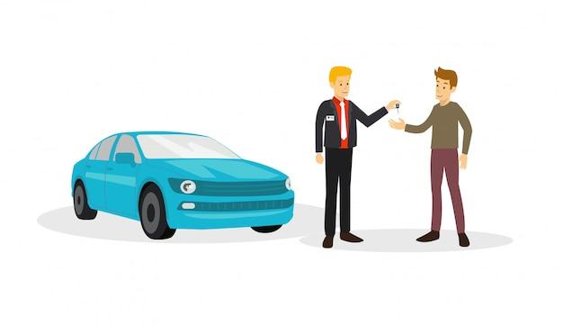 2b442fa83dda11 Klant gaat akkoord met verkoper om auto te kopen als hij verkoopt Premium  Vector