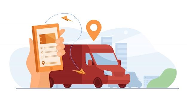 Klant gebruikt mobiele app voor het volgen van de bezorging van bestellingen Gratis Vector