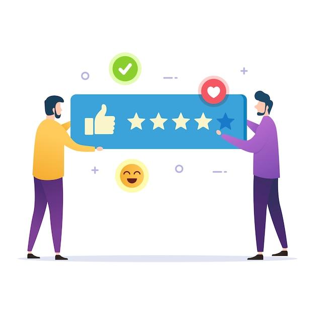 Klant geeft stem goede feedback beoordelingsresultaten Premium Vector