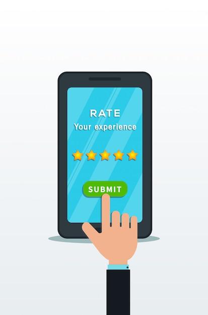Klant review app concept. Premium Vector