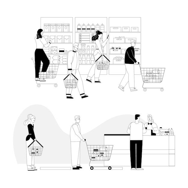 Klanten bij supermarkt. Premium Vector