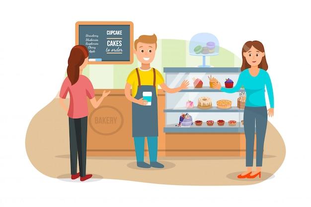 Klanten en shopman bij bakery shop Premium Vector