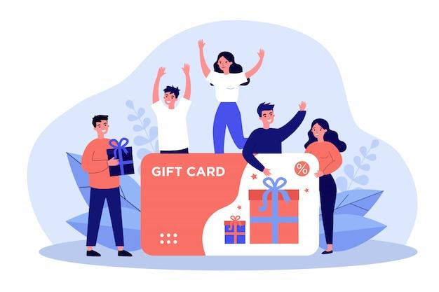 Klanten krijgen cadeaubon Premium Vector