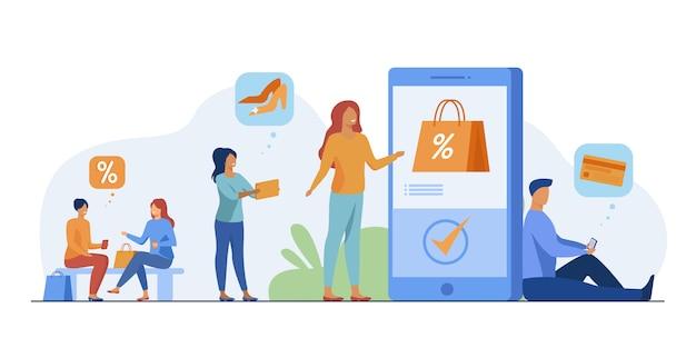 Klanten met telefoons die online winkelen Gratis Vector