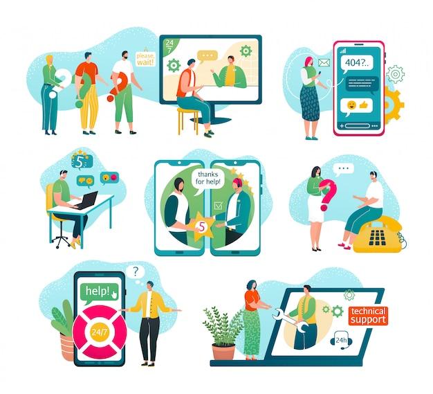 Klantenondersteuning op witte illustraties set. service, mannelijke hotline-operator in headset-adviescliënt, online wereldwijde technische ondersteuning, klant- en operatorassistenten helpen, chatten. Premium Vector