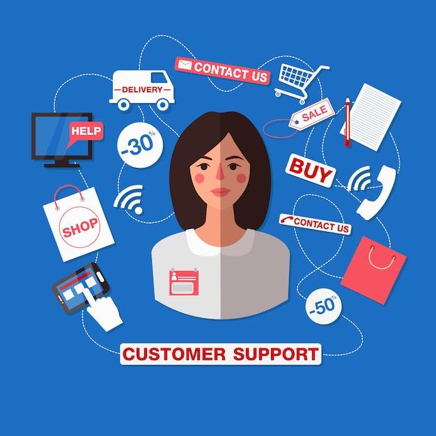 Klantenservice concept met vrouw. callcenter ondersteunen Premium Vector