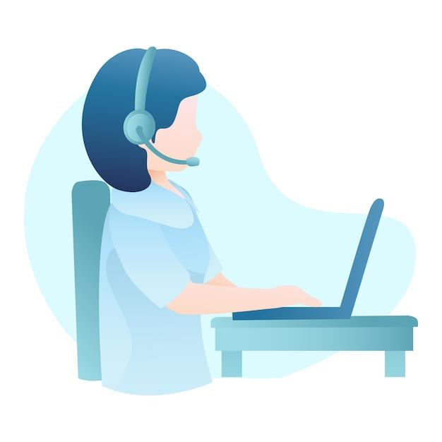 Klantenservice illustratie met vrouw slijtage headset en typen op laptop Premium Vector
