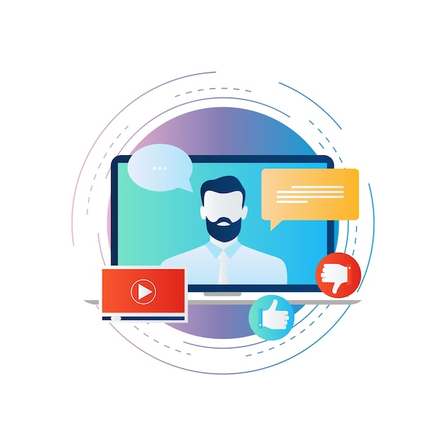 1a9cd3b0cc33f3 Klantenservice, live chat support, video tutorial | Vector | Premium ...