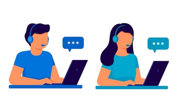 Klantenservice. man en vrouw operator callcenter met koptelefoon en microfoon met laptop. Premium Vector