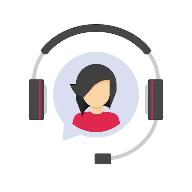 Klantenservice ondersteuning logo pictogram of klant hulp helpdesk operator agent in hoofdtelefoon of hoofdtelefoon callcenter symbool plat Premium Vector