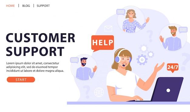Klantenservice, online assistent of callcenter concept. Premium Vector