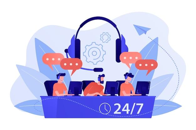 Klantenservice operators met headsets op computers die klanten 24 voor 7 raadplegen. callcenter, afhandeling oproepsysteem, virtuele callcenter concept illustratie Gratis Vector