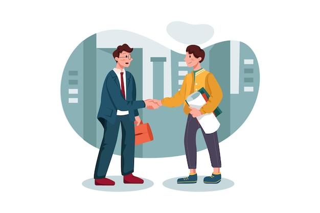 Klanthandshaking met marketingagent Premium Vector