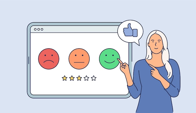 Klantonderzoek bedrijfsconcept. jonge gelukkig lachend zakenvrouw stripfiguur waardering geven op tablet. vlak Premium Vector
