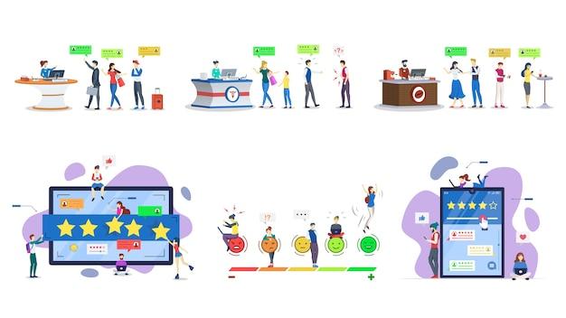Klantrecensies platte illustraties set. gebruikerservaring. feedback van consumenten. klanttevredenheid. beoordeling, ranking concept. kwaliteitsevaluatie, beoordeling. geïsoleerde stripfiguren kit Premium Vector