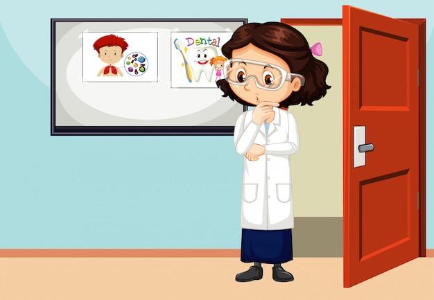 Klas scène met leraar in de kamer Premium Vector