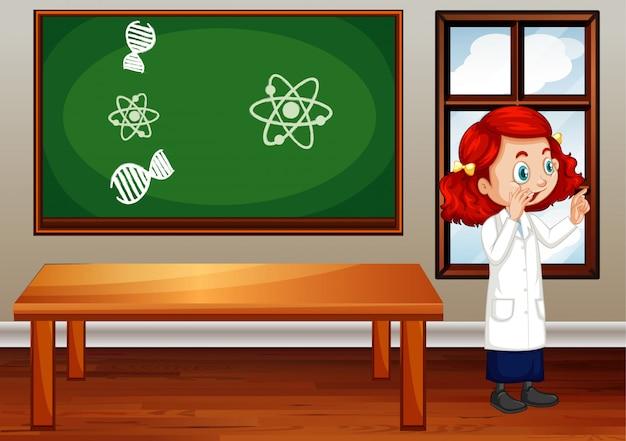 Klaslokaalscène met binnen wetenschapsstudent Gratis Vector