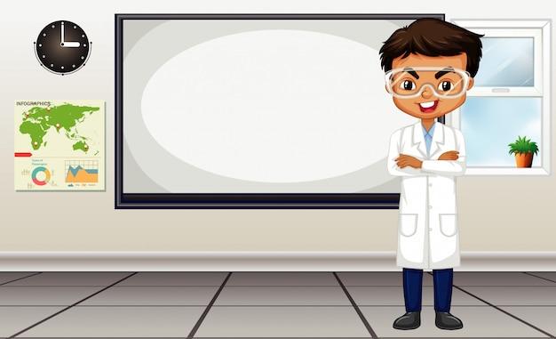 Klaslokaalscène met wetenschapsleraar die zich door het bord bevinden Premium Vector