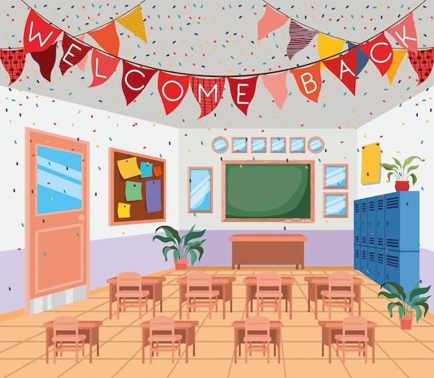 Klaslokaalschool met schoolbordscène Gratis Vector