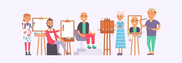 Klasse met de illustratie van studentenschilders. mensen leren tekenen. kunststudio groep kunstenaars schilderij man die op stoel zit. Premium Vector