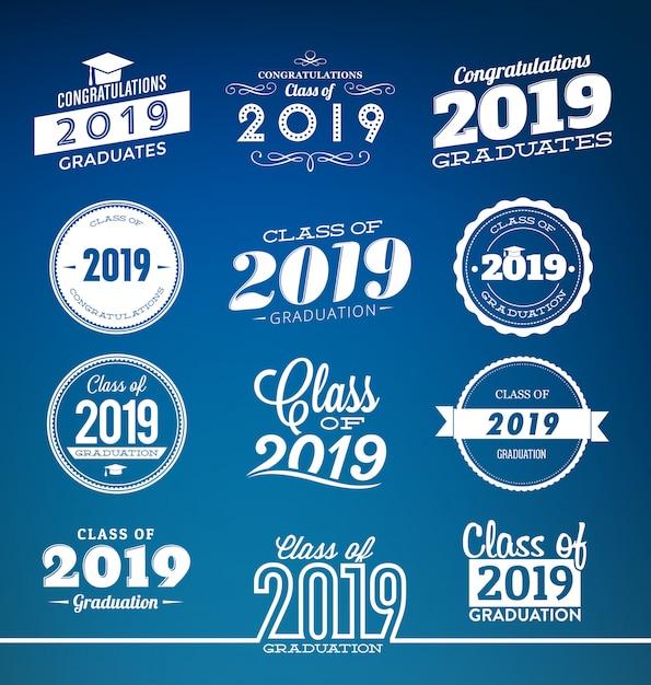 Klasse van 2019 typografische afstuderen ontwerpset Premium Vector