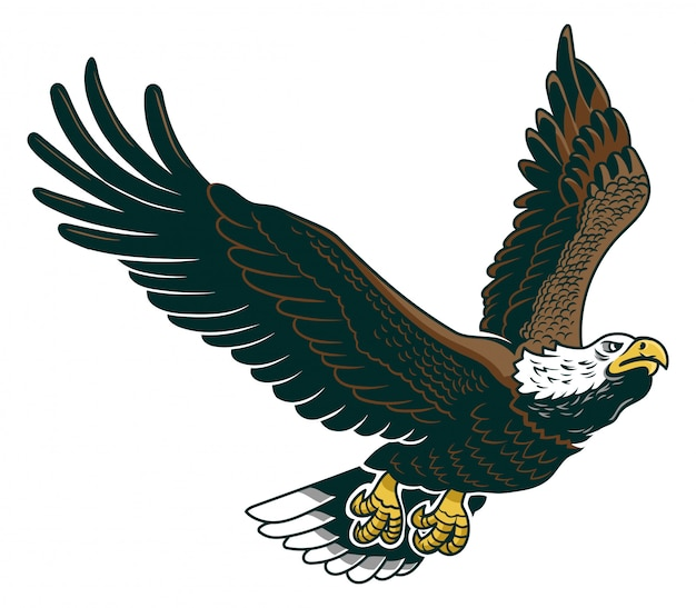 Klassiek amerikaans wild adelaarembleem in de vlieg. Premium Vector