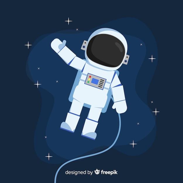 Klassiek astronautenkarakter met plat ontwerp Gratis Vector
