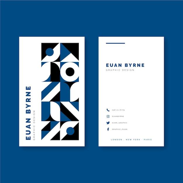 Klassiek blauw kleuren geometrisch visitekaartje Gratis Vector