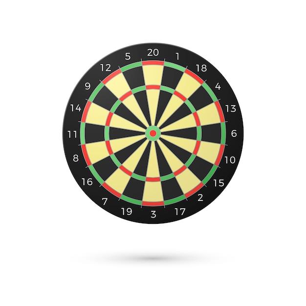 Klassiek dartbord met twintig sectoren. realistische dartborden. spel concept. illustratie op witte achtergrond Premium Vector
