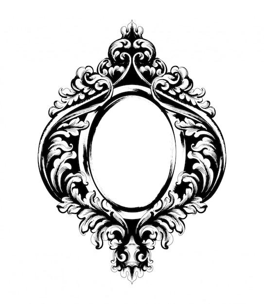 Klassiek gesierd frame Premium Vector