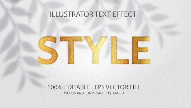 Klassiek goudeffect met bewerkbare tekst Premium Vector