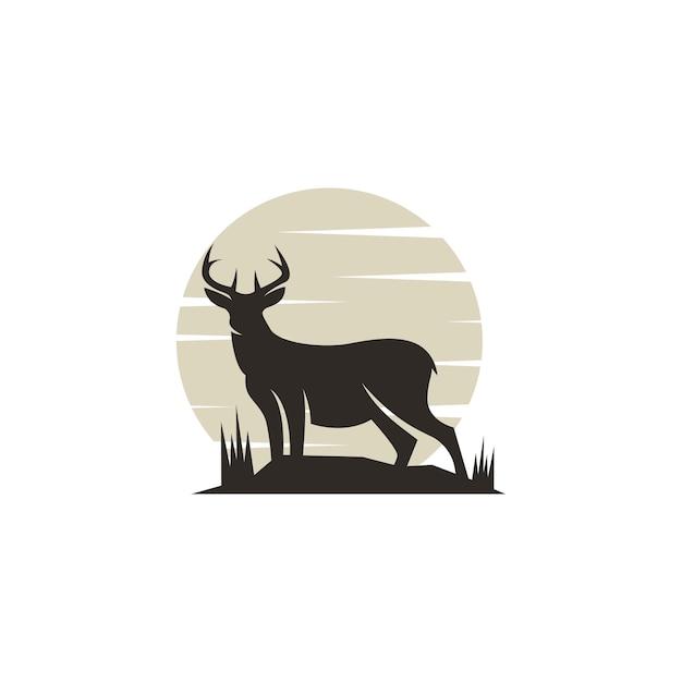 Klassiek hert silhouet logo Premium Vector